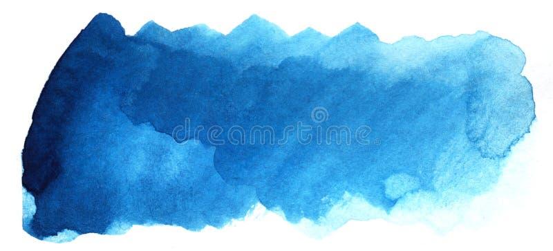 Abstrakt rubrikbakgrund En formlös avlång fläck av blå färg Lutning från mörker som ska tändas royaltyfri illustrationer