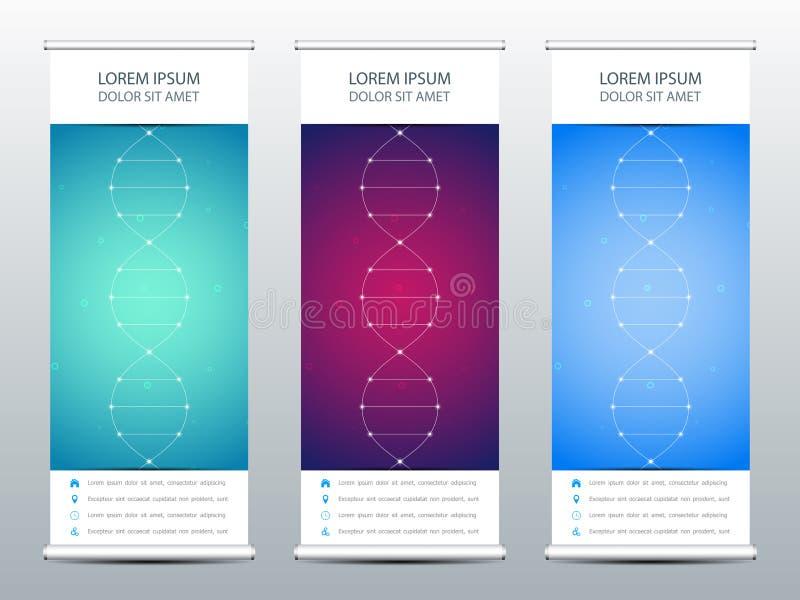 Abstrakt rulla upp banret för presentation och publikation Vetenskaplig, teknologisk och medicinsk mall molekyl royaltyfri illustrationer
