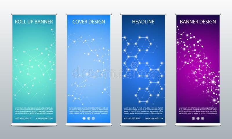 Abstrakt rulla upp banret för presentation och publikation Vetenskaps-, teknologi- och affärsmall illustrationen för dna 3d framf vektor illustrationer