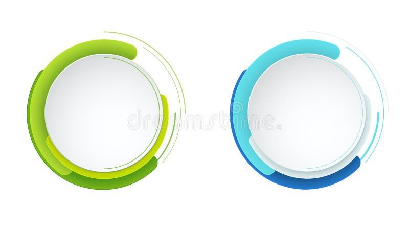 Abstrakt rund baneruppsättning för modern vektor Mall för bruk i rengöringsduk eller tryckdesign 10 eps stock illustrationer