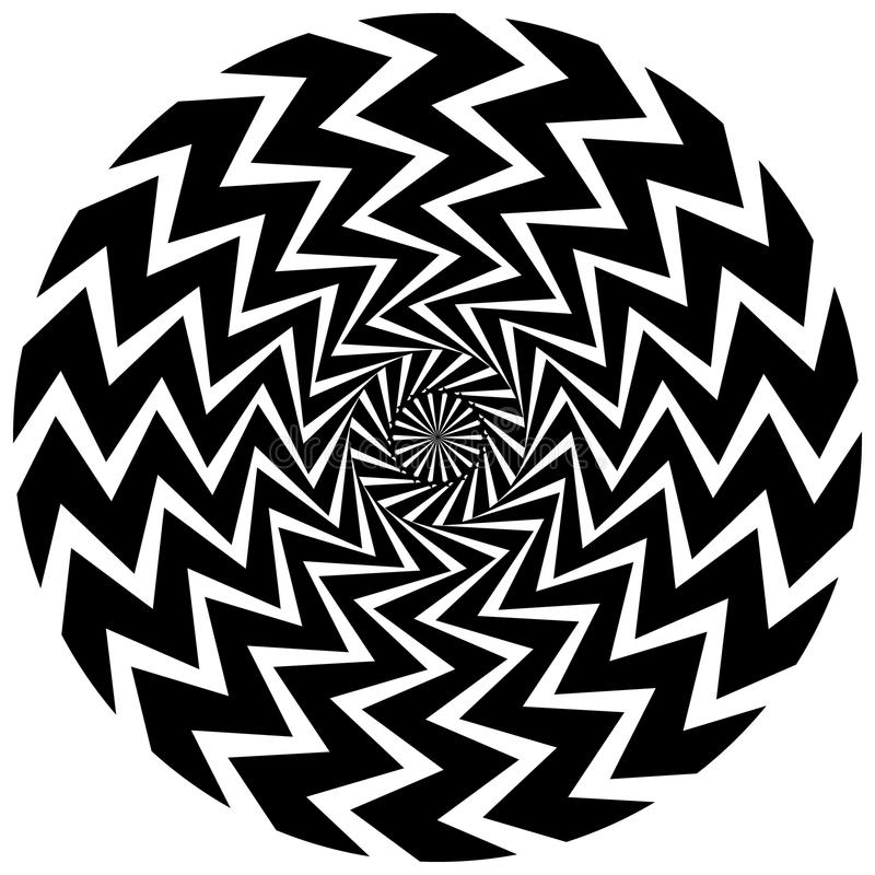 Abstrakt rund beståndsdel Roterande radiella linjer med krabb effekt royaltyfri illustrationer