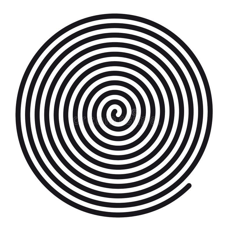 Abstrakt rund hypnotisk spiralvirvel - vektorillustration - som isoleras på vit bakgrund vektor illustrationer