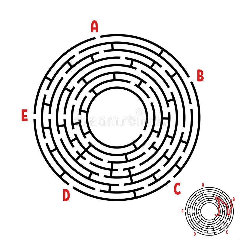 Abstrakt rund labyrint modiga ungar Pussel för barn` s Fem ingångar, en utgång Labyrintgåta Enkel plan vektorillustra royaltyfri illustrationer