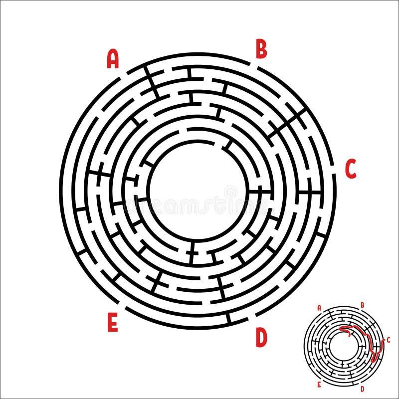 Abstrakt rund labyrint modiga ungar Pussel för barn` s Fem ingångar, en utgång Labyrintgåta Enkel plan vektorillustra vektor illustrationer