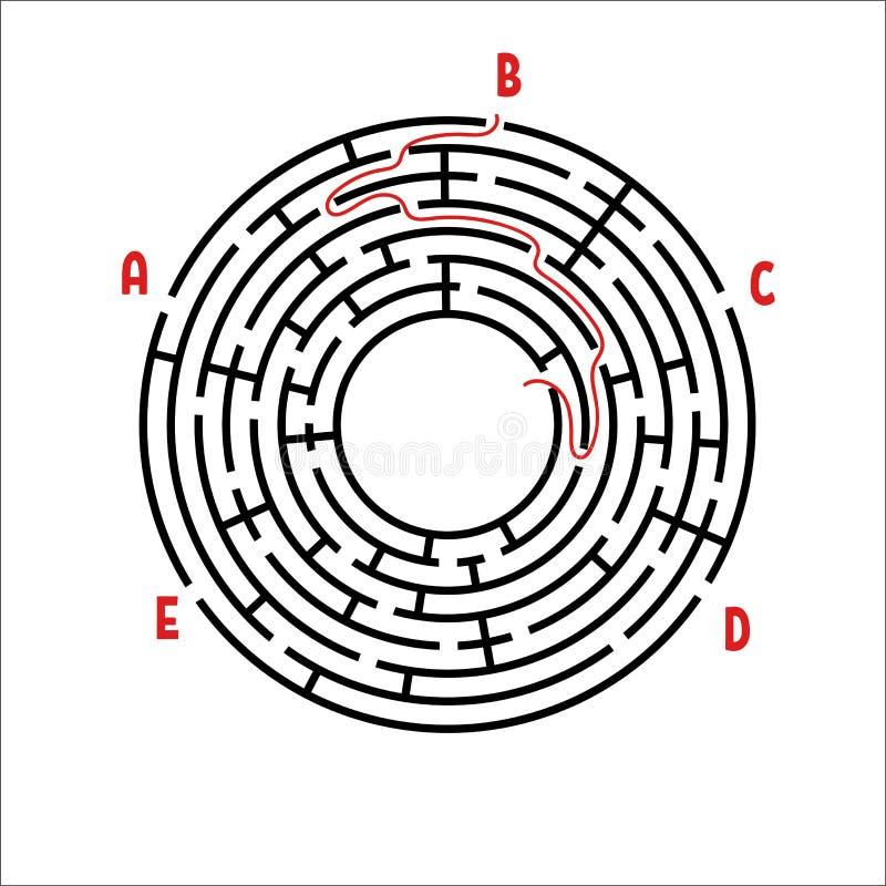 Abstrakt rund labyrint modiga ungar Pussel för barn` s Fem ingångar, en utgång Labyrintgåta Enkel plan vektorillustra stock illustrationer