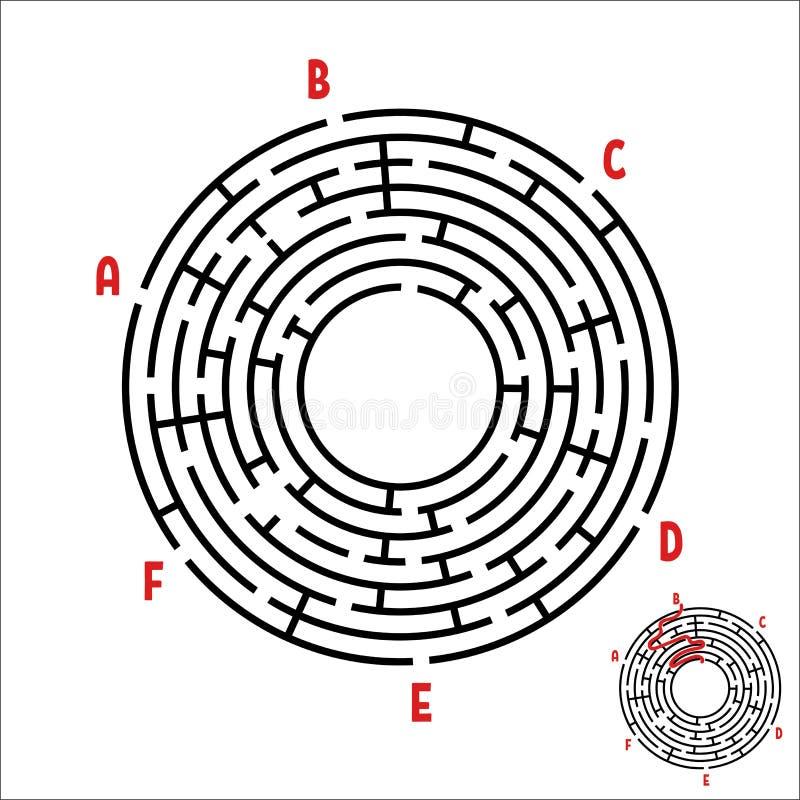 Abstrakt rund labyrint modiga ungar Pussel för barn` s Sex ingångar, en utgång Labyrintgåta Enkel plan vektorillustrat vektor illustrationer
