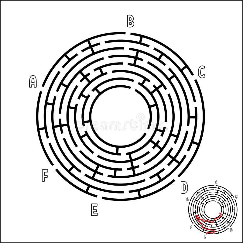 Abstrakt rund labyrint modiga ungar Pussel för barn` s Sex ingångar, en utgång Labyrintgåta Enkel plan vektorillustrat royaltyfri illustrationer