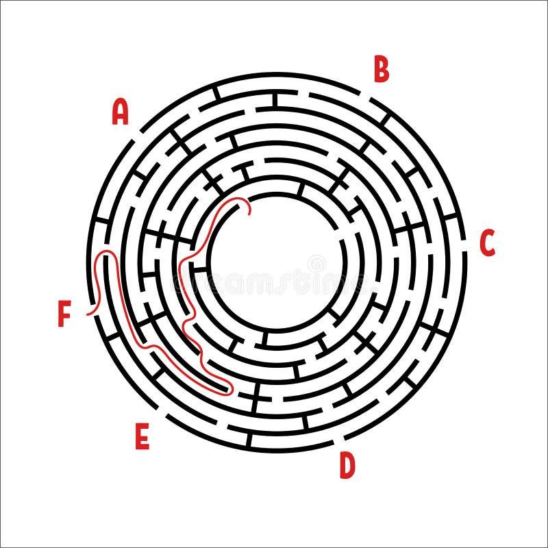 Abstrakt rund labyrint modiga ungar Pussel för barn` s Sex ingångar, en utgång Labyrintgåta Enkel plan vektorillustrat stock illustrationer
