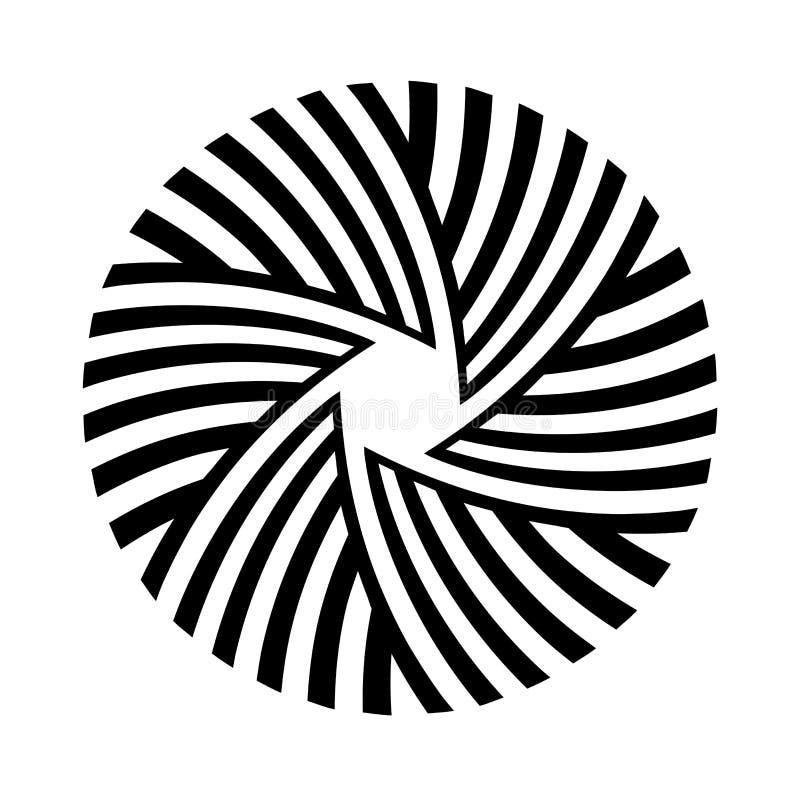 Abstrakt rund prydnad som isoleras på vit bakgrund Rund randig modell Vektormonokromillustration stock illustrationer