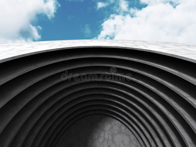 Download Abstrakt Rundabetongarkitektur På Molnhimmelbakgrund Stock Illustrationer - Illustration av korridor, vitt: 78729592