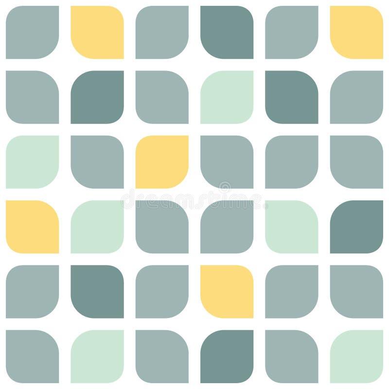 Abstrakt rundad grå färgguling kvadrerar sömlöst vektor illustrationer