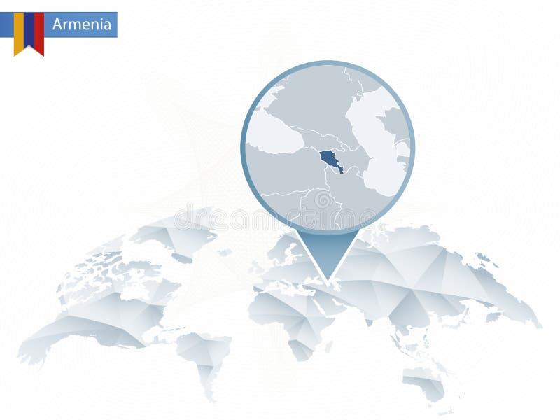 Abstrakt rundad världskarta med den klämde fast detaljerade Armenien översikten vektor illustrationer