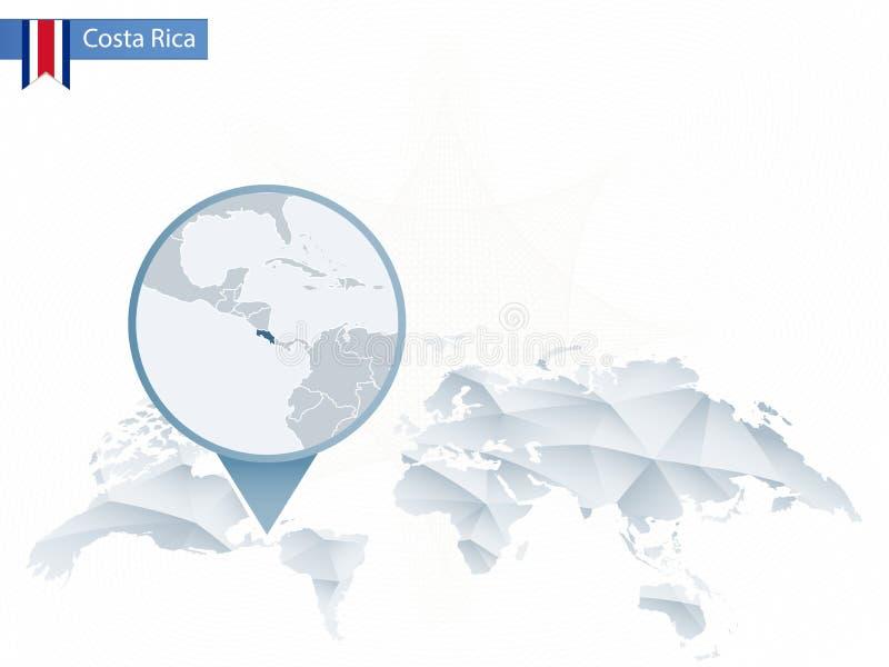 Abstrakt rundad världskarta med den klämde fast detaljerade Costa Rica översikten stock illustrationer
