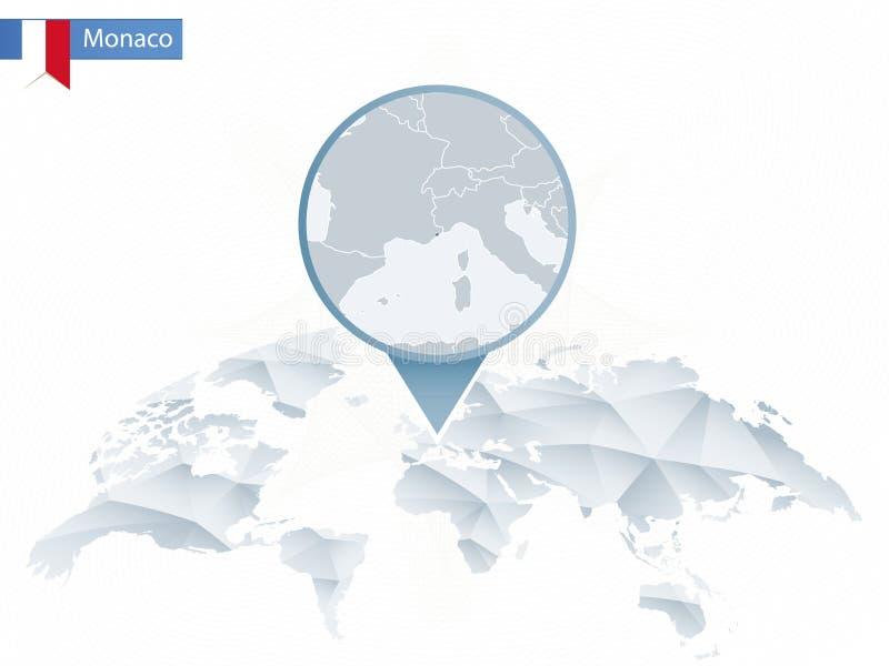 Abstrakt rundad världskarta med den klämde fast detaljerade Monaco översikten stock illustrationer