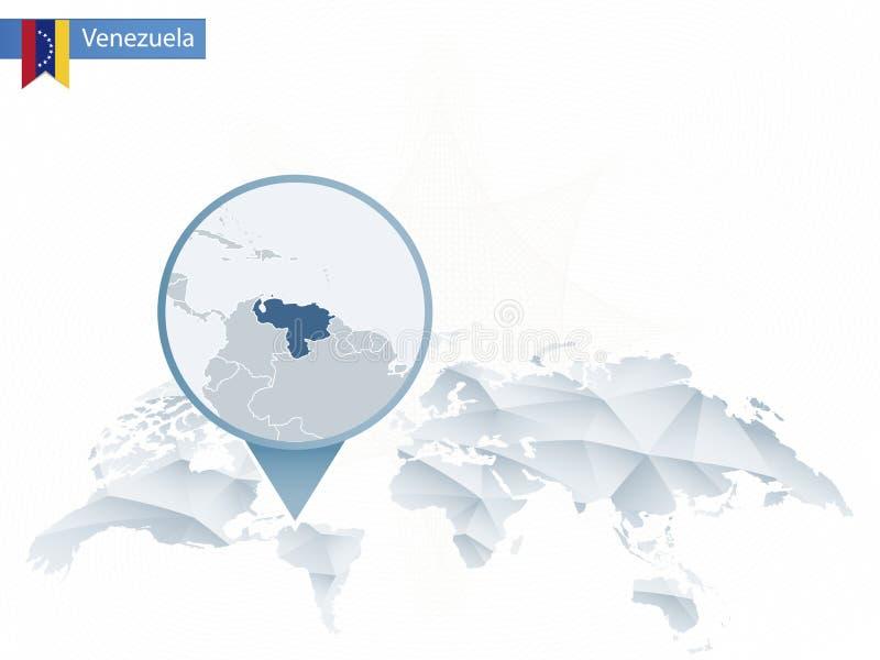 Abstrakt rundad världskarta med den klämde fast detaljerade Venezuela översikten royaltyfri illustrationer