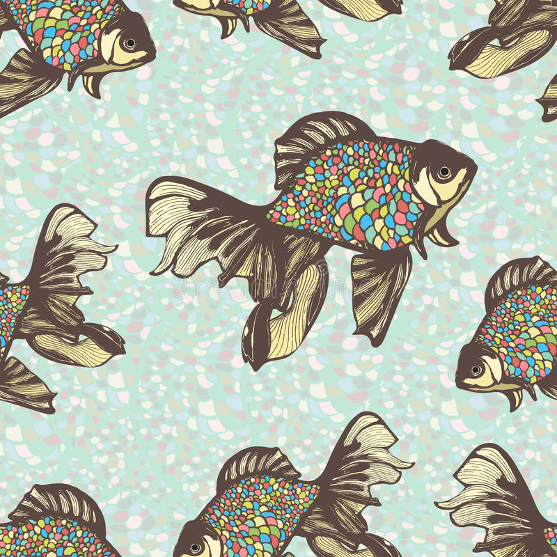 Abstrakt ryba ręka rysuje bezszwowego wzór, wektorowy tło Dekoracyjny z pstrobarwny multicolor waży przeciw ilustracja wektor