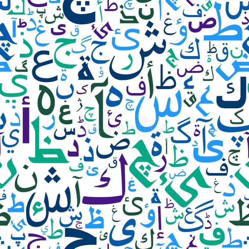 Abstrakt sömlös arabiskabokstavsmodell vektor illustrationer