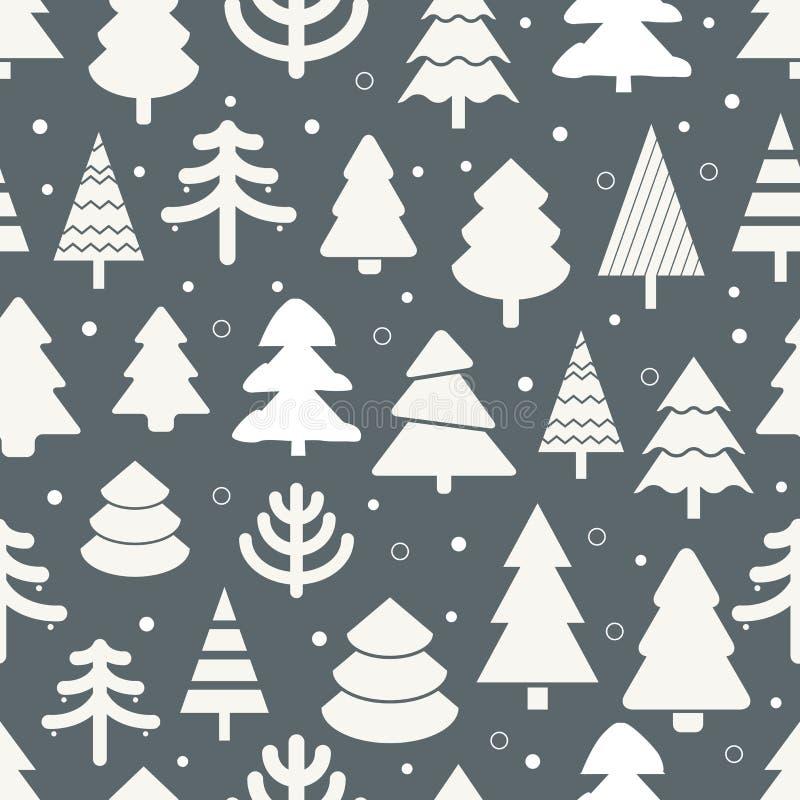 Abstrakt sömlös bakgrund för julträd stock illustrationer