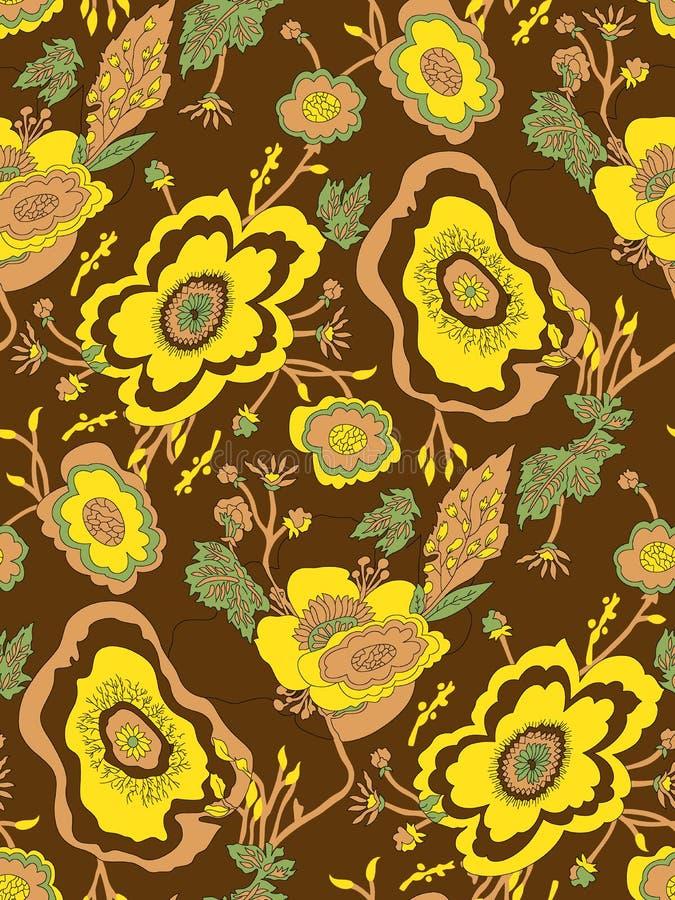Abstrakt sömlös djärv blommamodell stock illustrationer