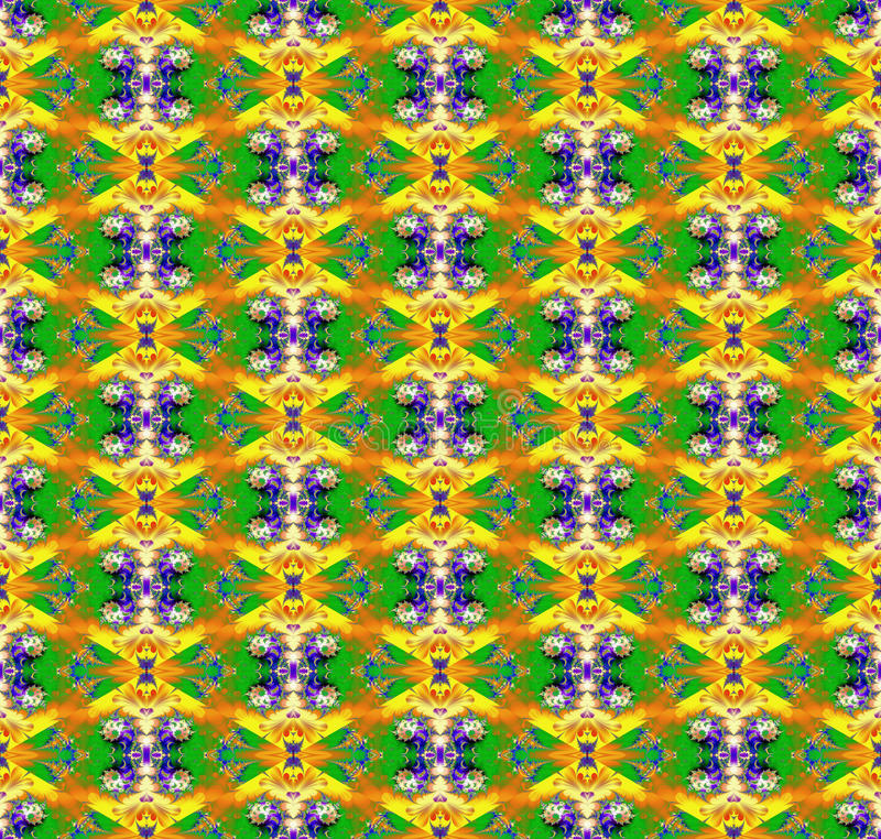 Abstrakt sömlös färgrik kaotisk fractalmodell för konst royaltyfri illustrationer