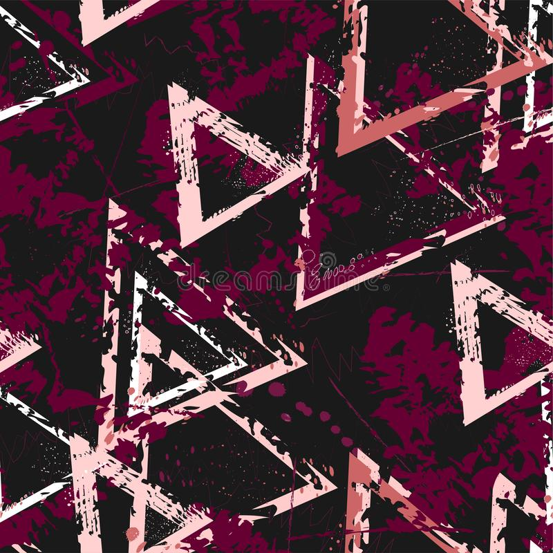 Abstrakt sömlös geometrisk bakgrund med sprucken textur Grungemodell för pojkar, flickor, sport, mode Stads- färgrik wallpa stock illustrationer