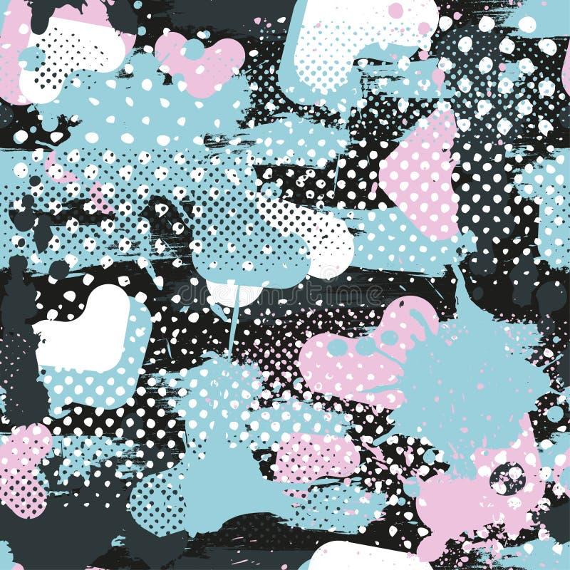 Abstrakt sömlös geometrisk modell med geometriska former, prickar, färgrikt sprutmålningsfärgfärgpulver royaltyfri illustrationer