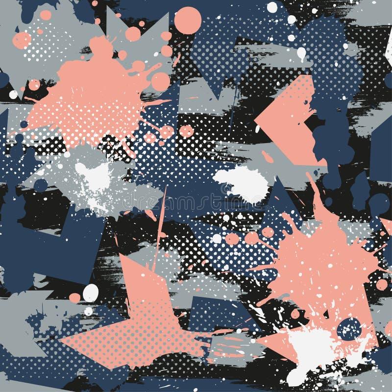 Abstrakt sömlös geometrisk modell med geometriska former, prickar, färgrikt sprutmålningsfärgfärgpulver vektor illustrationer