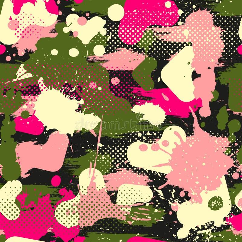 Abstrakt sömlös geometrisk modell med geometriska former, prickar, färgrikt sprutmålningsfärgfärgpulver Stads- modell för Grunge vektor illustrationer