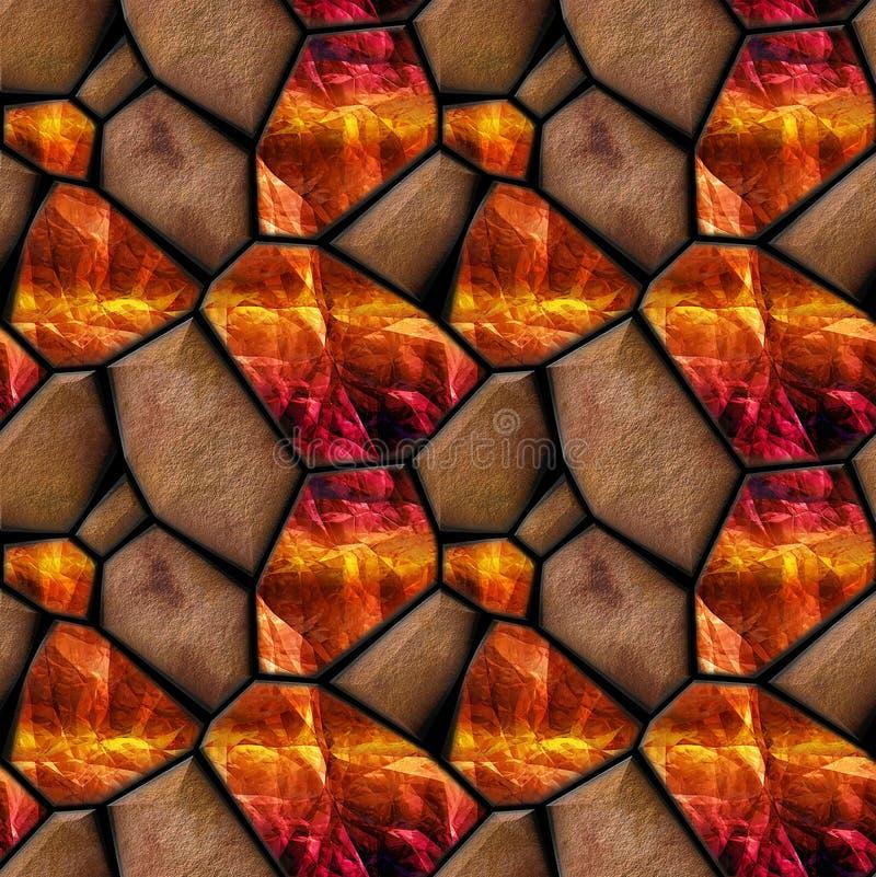 Abstrakt sömlös lättnadsmodell av orange grained stenar och kristaller med ljusa reflexioner vektor illustrationer