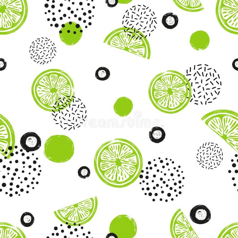 Abstrakt sömlös limefruktmodell i gräsplan- och svartfärger royaltyfri illustrationer