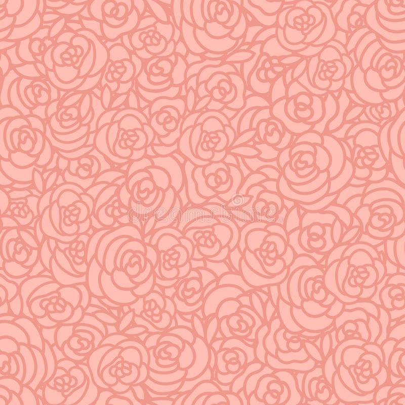Abstrakt sömlös modell av handattraktionrosor Vektorbeigabakgrund stock illustrationer