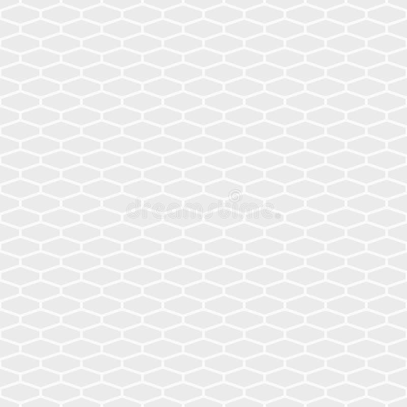 Abstrakt sömlös modell av långsträckta sexhörningstegelplattor Geometrisk textur för vit och för grå färger Sexhörnig rasterdesig stock illustrationer
