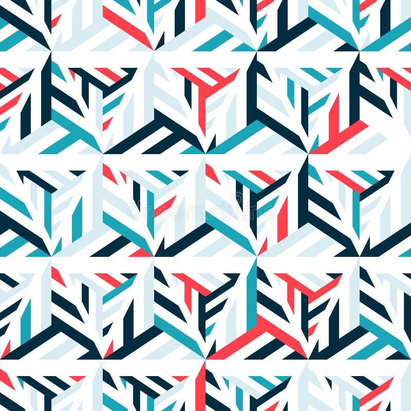 Abstrakt sömlös modell av ljusa linjer och trianglar royaltyfri illustrationer