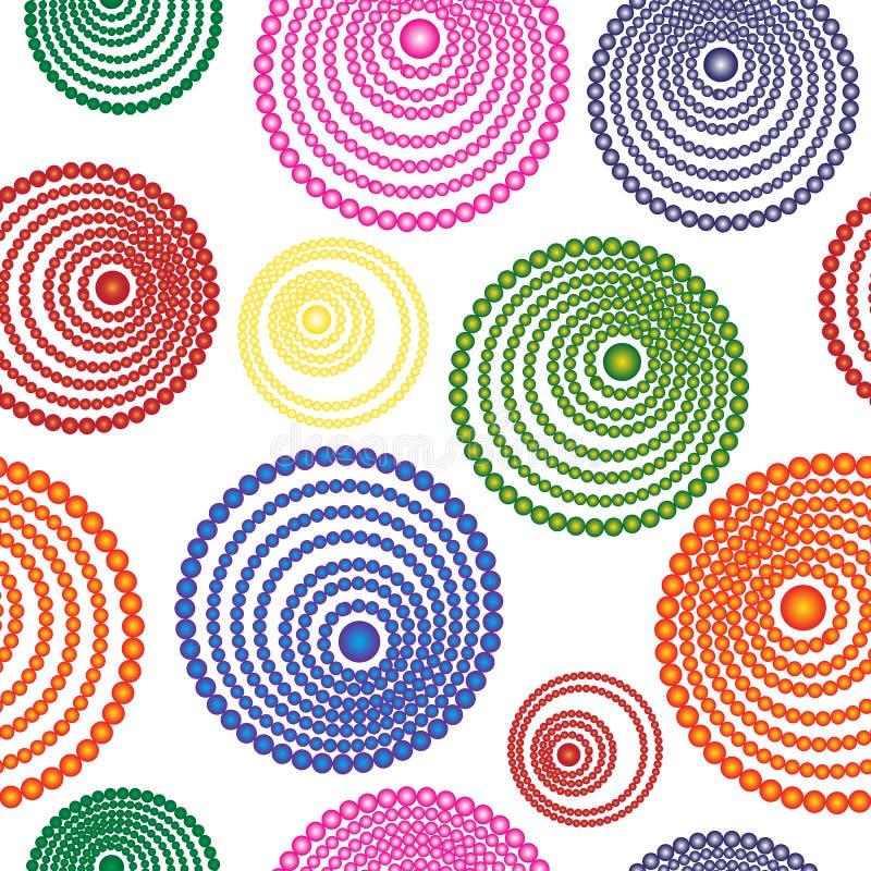 Abstrakt sömlös modell av mångfärgade koncentriska cirklar stock illustrationer