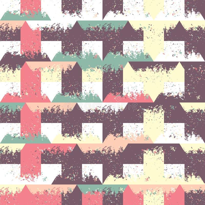 Abstrakt sömlös modell av trianglar och små former Grunge textur royaltyfri illustrationer