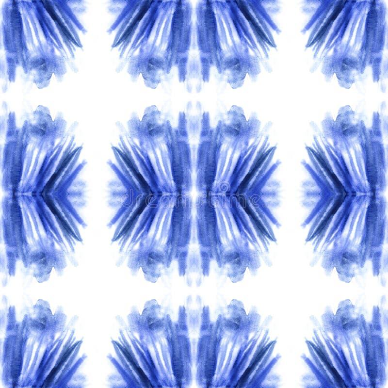 Abstrakt sömlös modell för blå vattenfärg, ändlös textur, blå fläck arkivbild