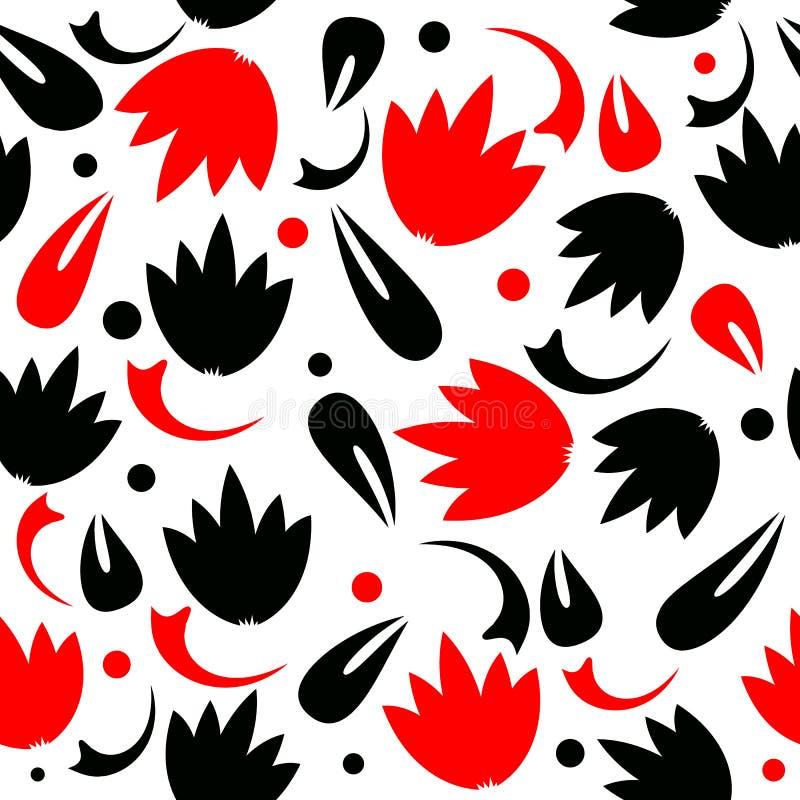 Abstrakt sömlös modell för svart och röd vektor på vit bakgrund Tulpanblommor Geometriska abstrakta former, cirklar, prickar royaltyfri illustrationer