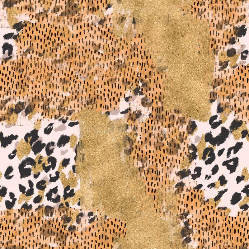 Abstrakt sömlös modell: grova borsteslaglängder för vattenfärg, grunge, skinande texturer för guld- folie, tryckbakgrund för djur vektor illustrationer