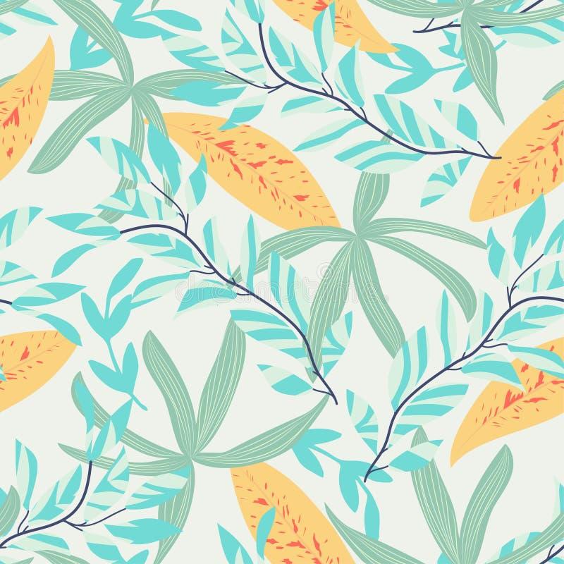 Abstrakt sömlös modell med färgrika tropiska sidor och blommor på en beige bakgrund f?r designeps f?r 10 bakgrund vektor f?r tech royaltyfri illustrationer