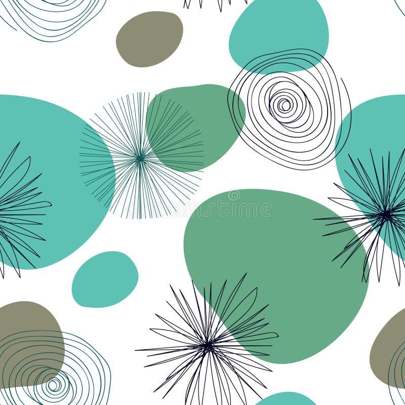 Abstrakt sömlös modell med graphycbeståndsdelar - moderna abstrakta former: linjer; spiral; cirklar royaltyfri illustrationer