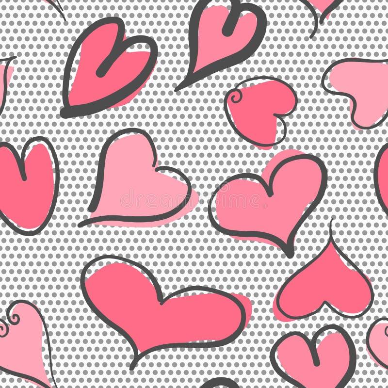 Abstrakt sömlös modell med hjärtor och prickbakgrund Valentinhjärtor med handattraktion royaltyfri illustrationer