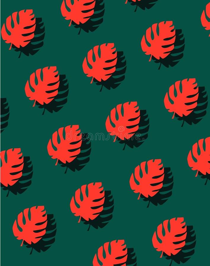 Abstrakt sömlös modell med röda tropiska sidor eller spridd exotisk lövverk av djungelväxter på grön bakgrund royaltyfri illustrationer