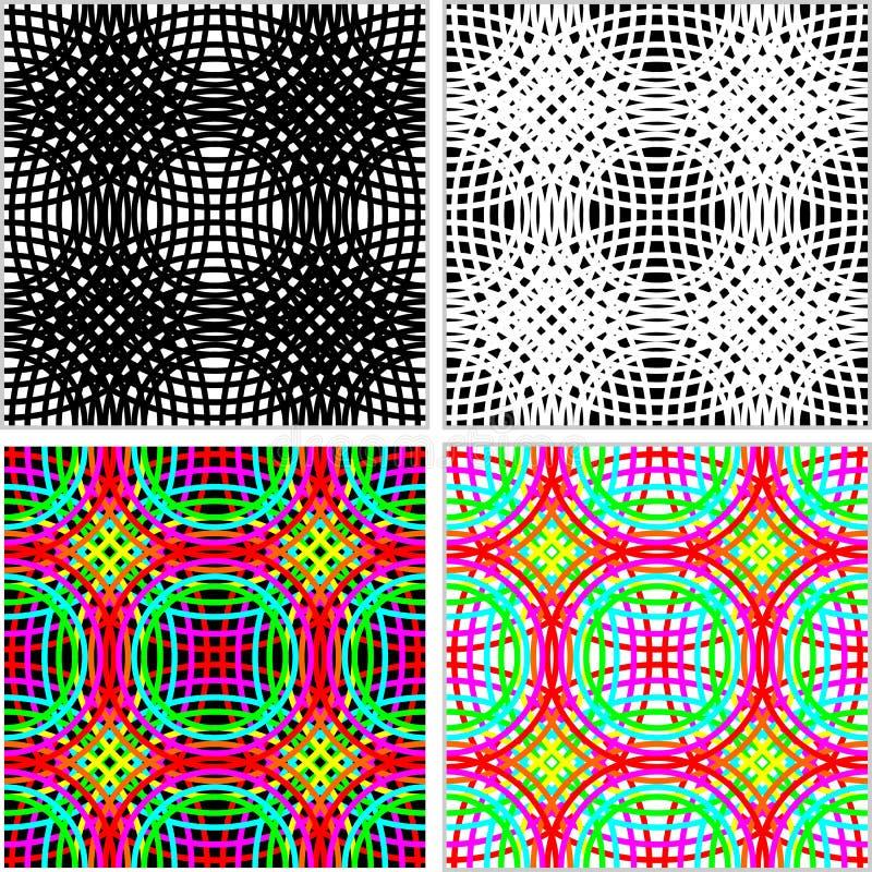 Abstrakt sömlös modell - uppsättning av färgrika cirklar i fyra varianter royaltyfri illustrationer