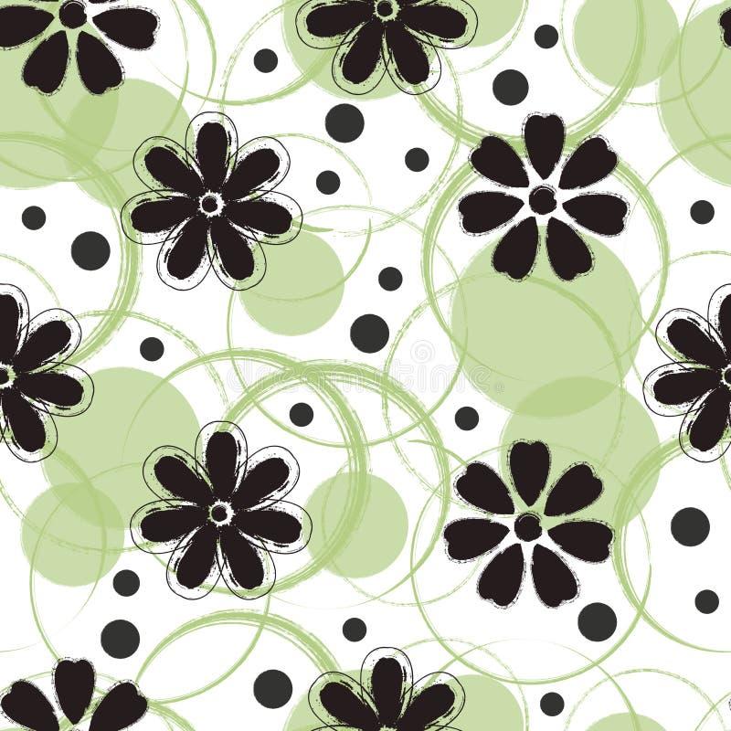 Abstrakt sömlös modelldesign med blommor och cirklar royaltyfri illustrationer