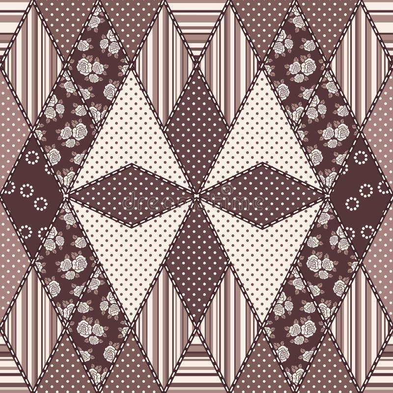Abstrakt sömlös patchworkmodell för vektor royaltyfri illustrationer
