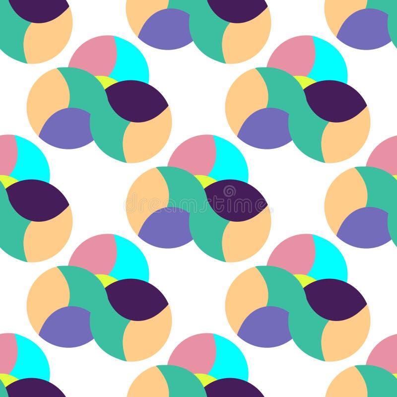 Abstrakt, sömlös, platt bakgrund, sammansättning från färgfyllda sfärer Balansera cirklar, ikon för geometriska pastellfärger Vec stock illustrationer