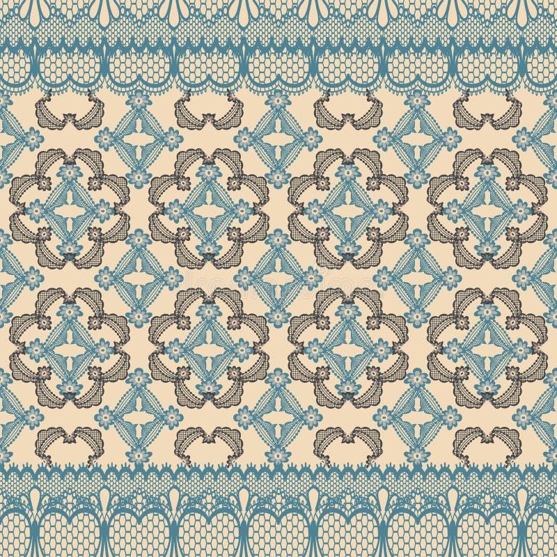 Abstrakt sömlös repetitionmodellillustration av spets- sidor, blom- och hjärtor i geometrisk orientering vektor illustrationer