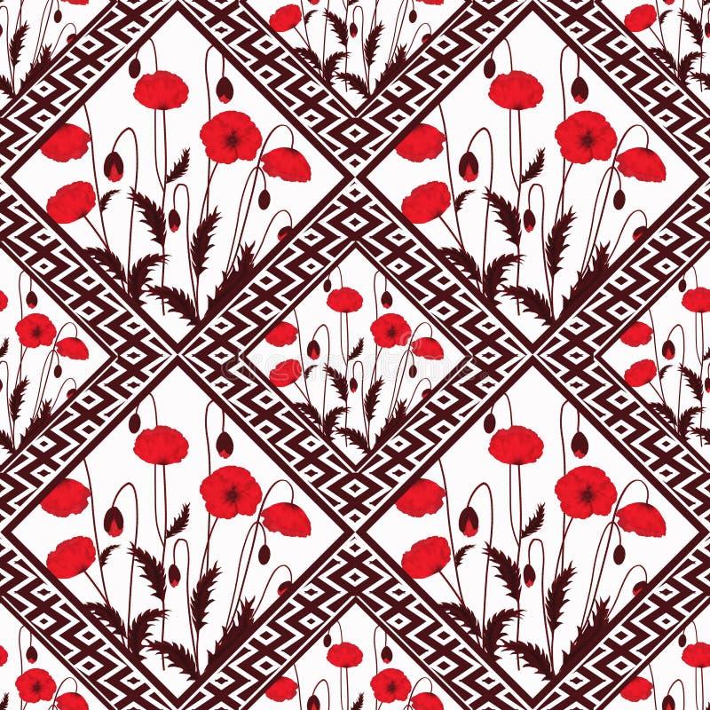Abstrakt sömlöst blom- för patchwork, bakgrund för modelltexturljus med dekorativa beståndsdelar vektor illustrationer