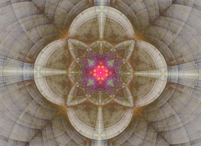 Abstrakt sakral geometri f?r kalejdoskop Etniskt fractalkonstverk vektor illustrationer