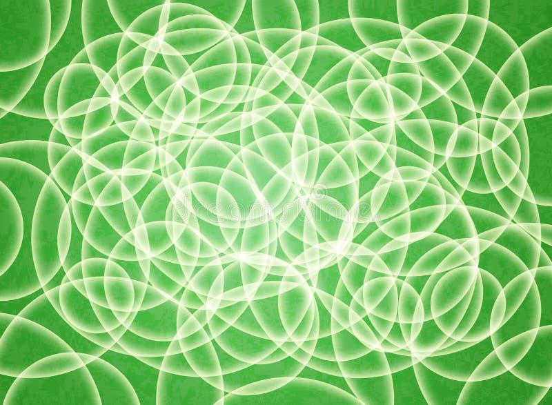 Abstrakt sammansättning av vita volymcirklar på en grön substrate bakgrund 3d vektor illustrationer